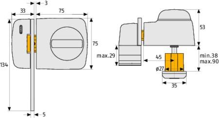 abus t rzusatzschloss mit sperrb gel typ 7530 friedhelm. Black Bedroom Furniture Sets. Home Design Ideas